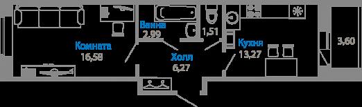 Планировка Однокомнатная квартира площадью 41.8 кв.м в ЖК «Мурино17(руки)»