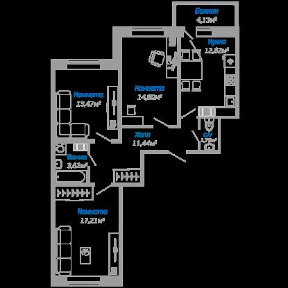 Планировка Трёхкомнатная квартира площадью 74.5 кв.м в ЖК «Мурино17(руки)»