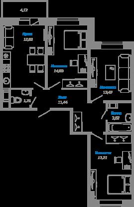 Планировка Однокомнатная квартира площадью 75.6 кв.м в ЖК «Мурино17(руки)»
