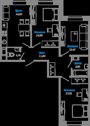 Планировка Трёхкомнатная квартира площадью 75 кв.м в ЖК «Мурино17(руки)»